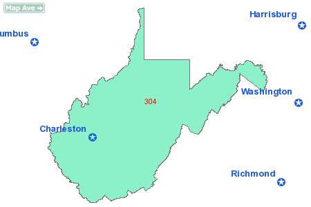 area code 304 what state