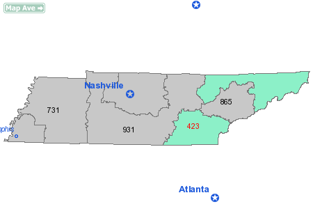maps of tennessee with cities. Area Code 423 Map State: TN -