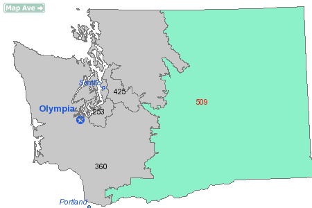 North American area code 509 is a state of Washington telephone area code