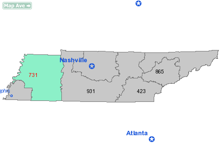 maps of tennessee with cities. Area Code 731 Map State: TN -